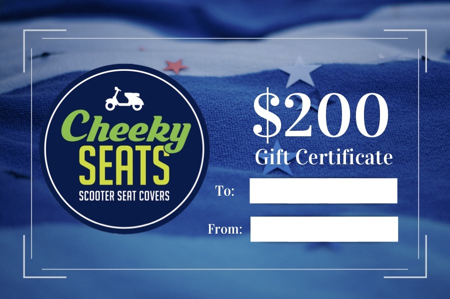 Cheeky Seats Gift Certificate $200.00 Great Scooterist Gift Idea