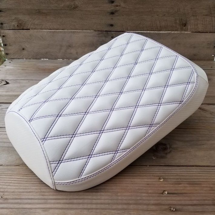 Icebear Maddog Seat Cover Diamond Stitch White Scooter