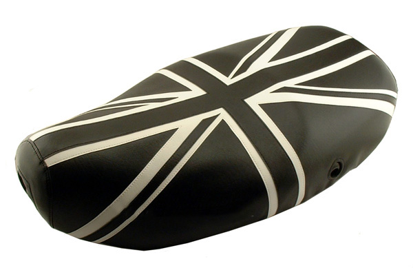 Black and White Union Jack Vespa LX 50 150 Scooter Seat Cover
