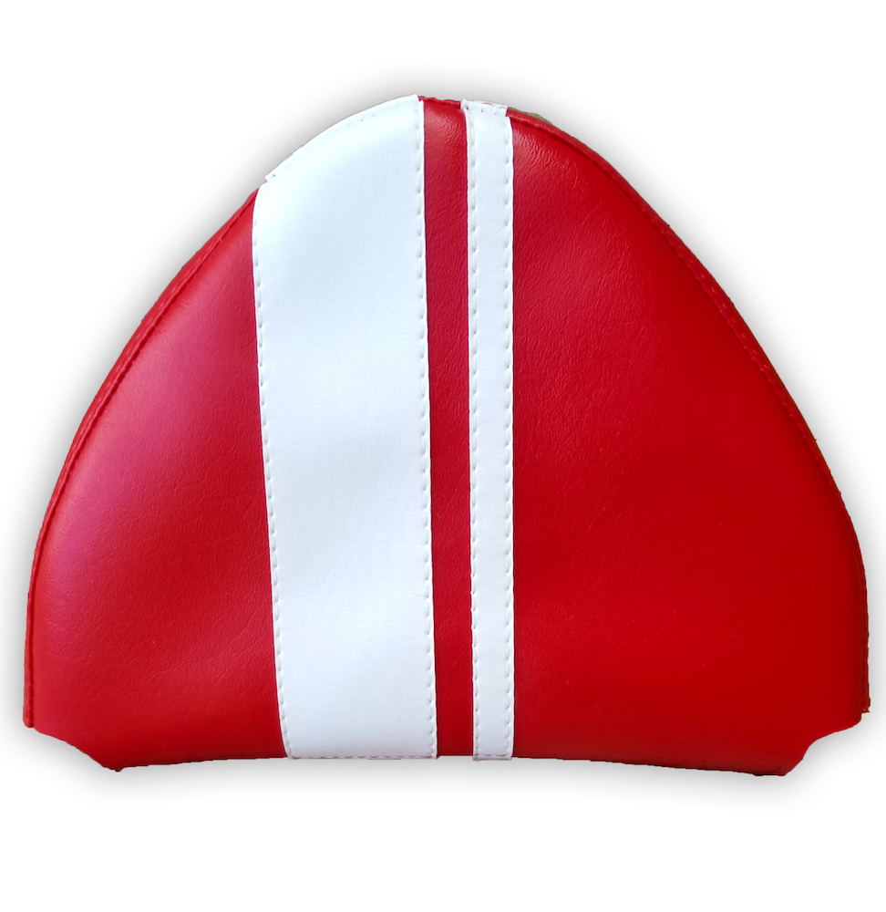 Dual Racing Stripe Red Cuppini Scooter Backrest Pad Cover Vespa