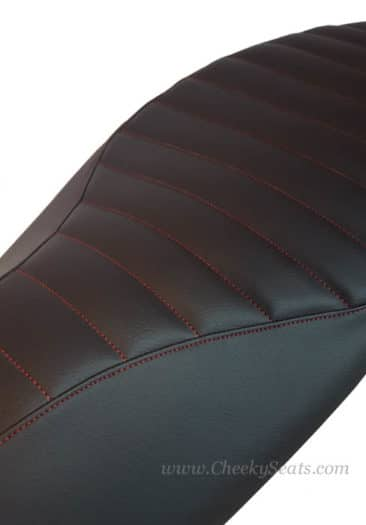 Choose your thread color, here we show red on our hand tailored seat cover