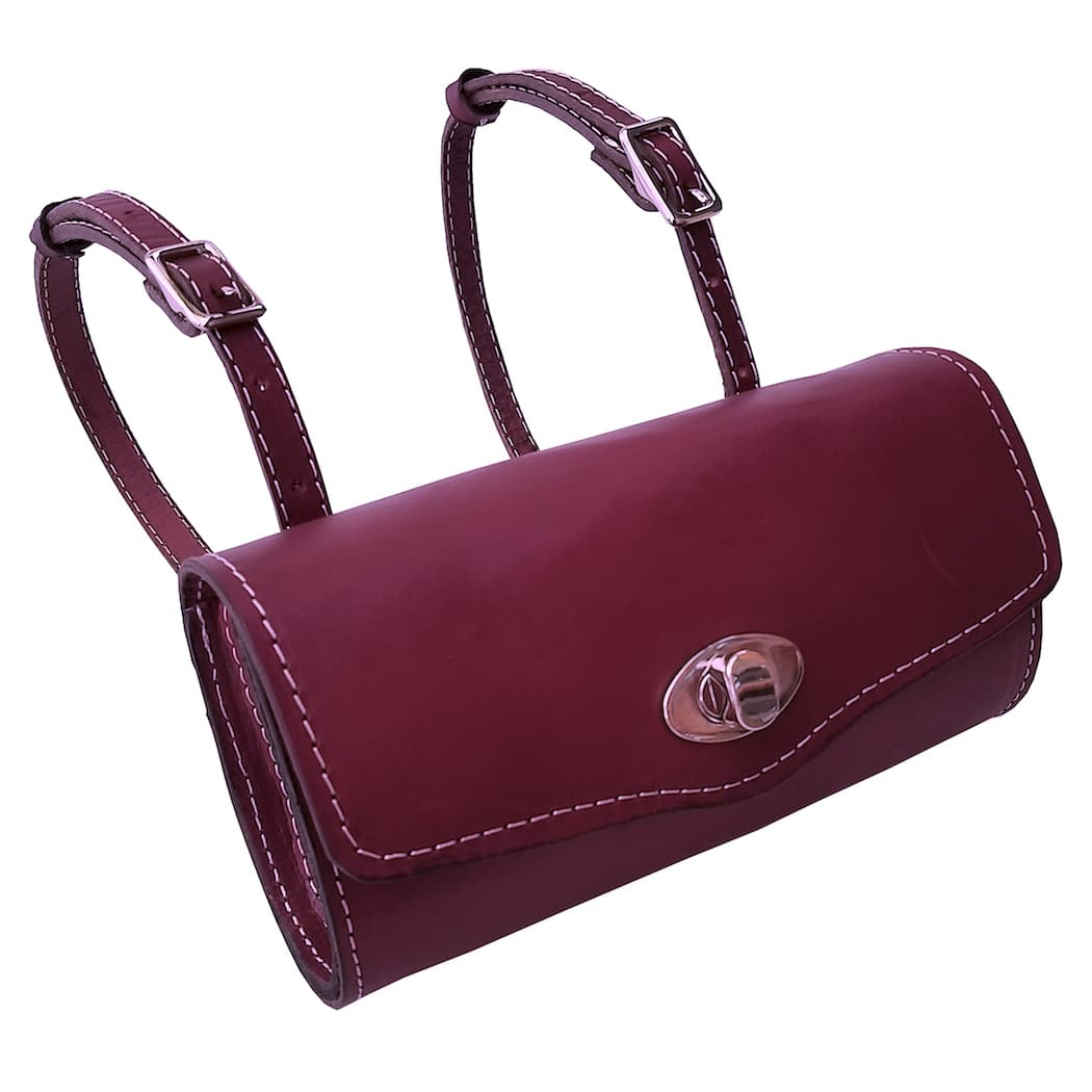 Burgundy Leather Roll bag Vespa handmade scooter Gifts Rollbag