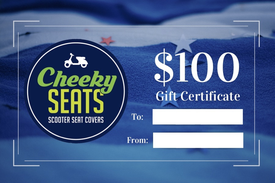 Cheeky Seats Gift Certificate $100.00 Great Scooterist Gift Idea