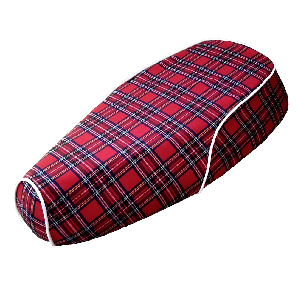 Genuine Kick Red Tartan Plaid Waterproof Scooter Seat Cover