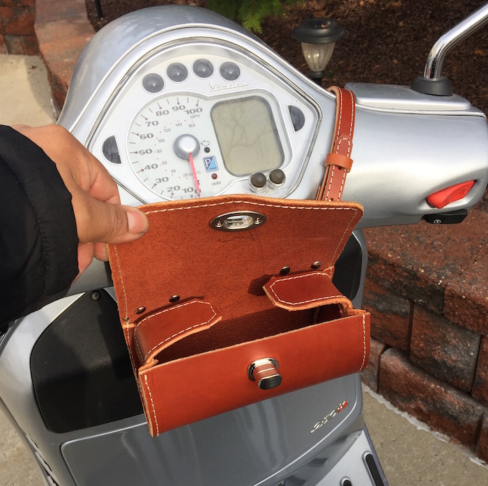 Chestnut Leather Vespa Scooter Small Roll bag Handmade Rollbag