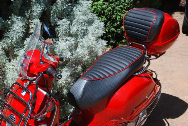 Premium Vespa GTS Scooter Seat Cover Charcoal and Matte Black