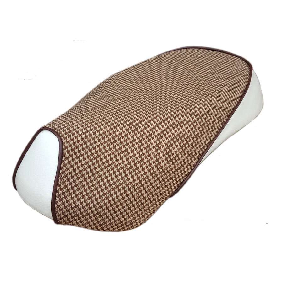 Sym Mio 50/100 Scooter Seat Cover Cream and Houndstooth