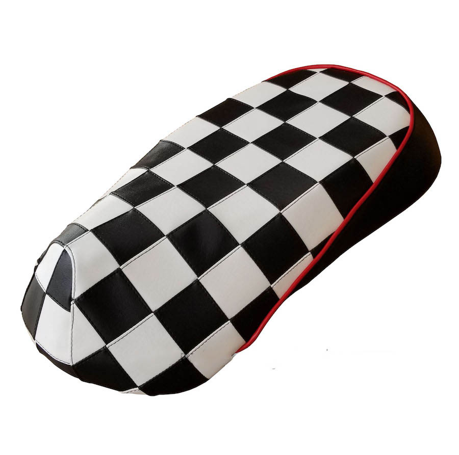 Sym Mio 50/100 Black and White Checkers Seat Cover Handmade
