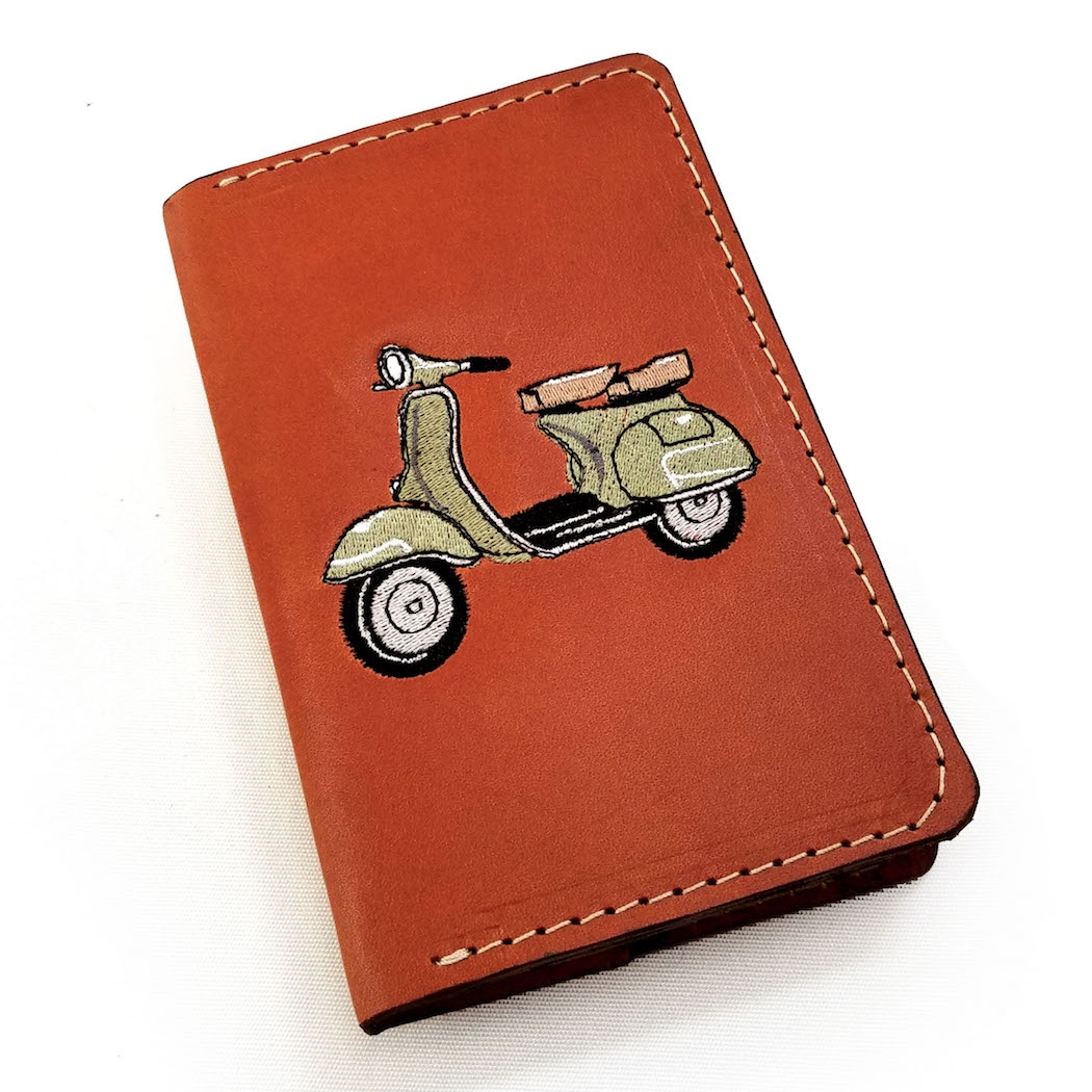 Caramel Leather Vespa Field Notes Journal Cover Scooter Gifts
