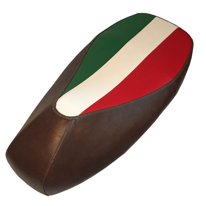 Vespa GTS Italian Flag Distressed Whiskey Scooter Seat Cover
