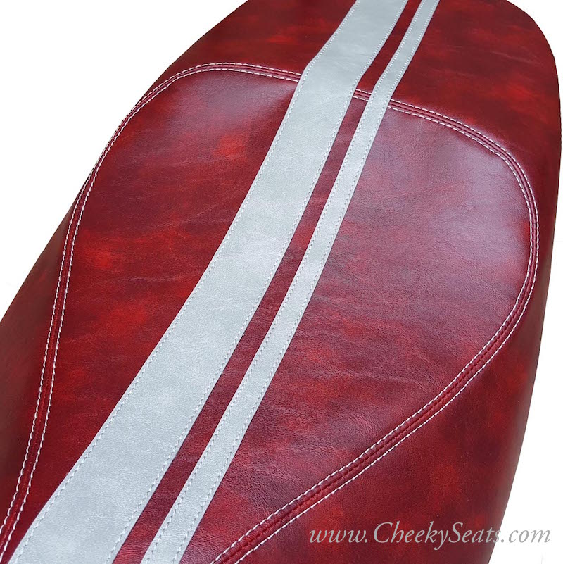 Dual Racing Stripes Oxblood Vespa GTS 125 250 300 Seat Cover