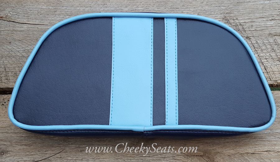 Navy and Tiffany Blue Racing Stripes Vespa LX Scooter Seat Cover