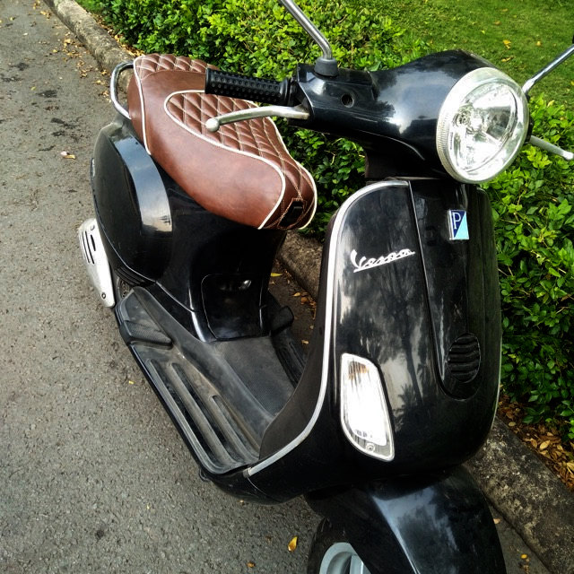 Vespa LX 50 150 Double Diamond Whiskey Brown Seat Cover Handmade