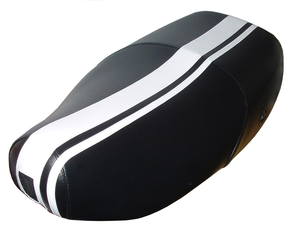 Vespa LX 50 150 scooter seat cover Dual Racing Stripes - Click Image to Close