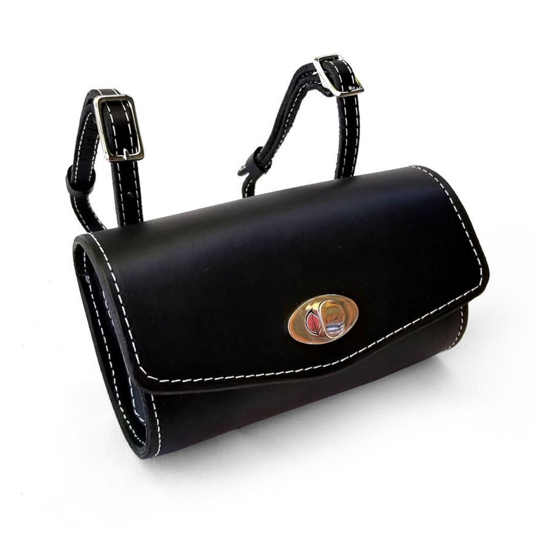 Black Leather Vespa Roll bag for ALL scooters handmade gifts