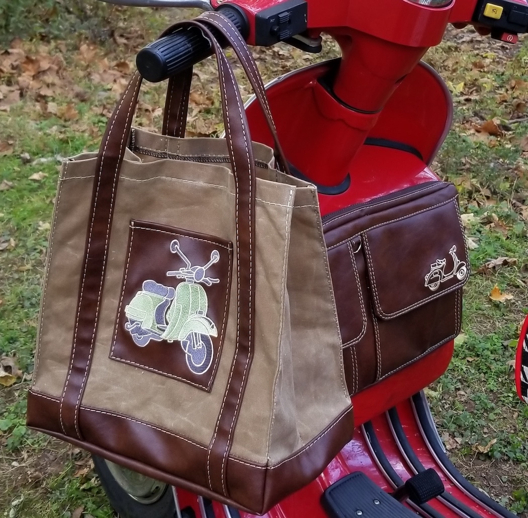 Vespa Market Tote Bag Waxed Canvas Scooter Gifts Accessory Brown