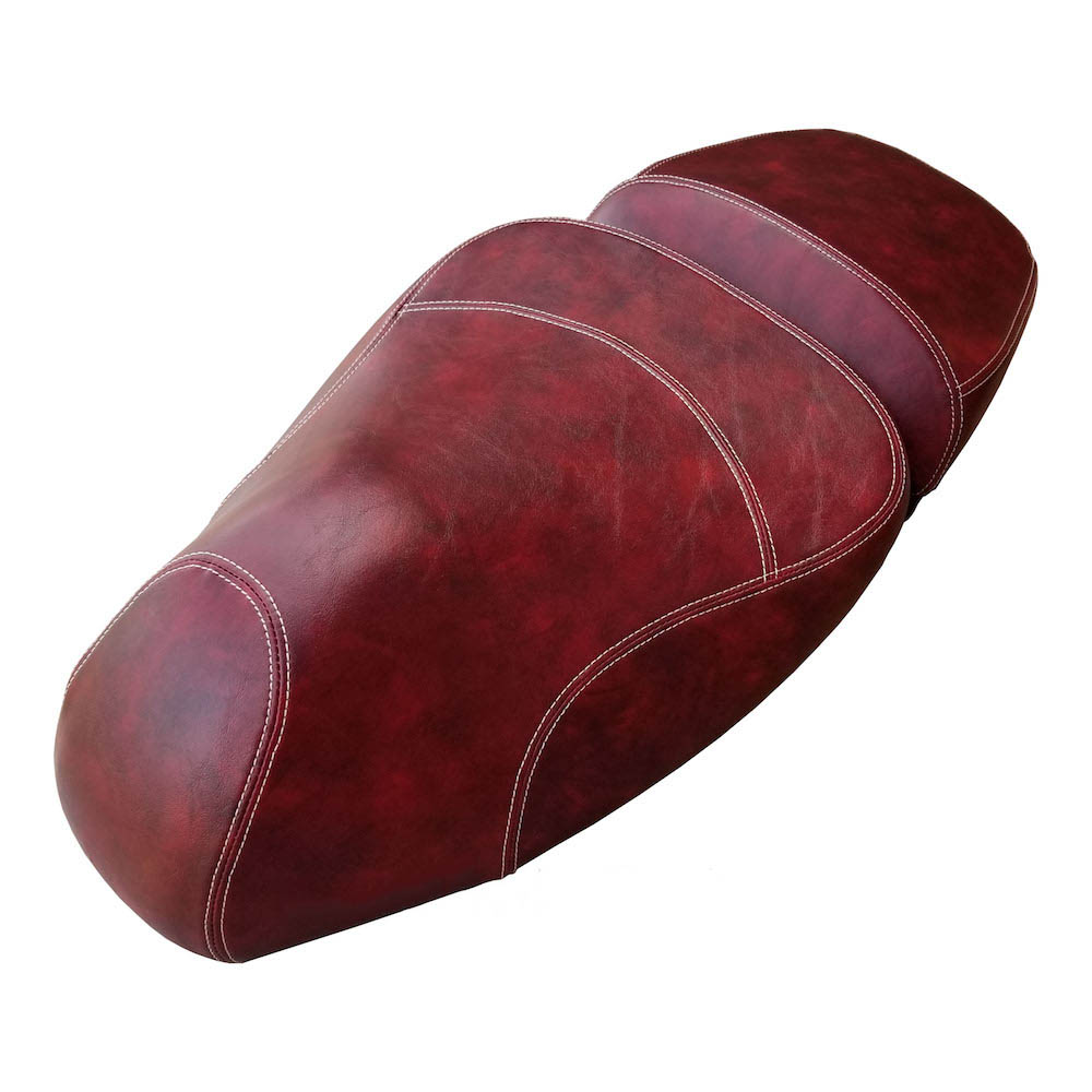 Vespa GTV Seat Cover Oxblood Split Saddle Hand Tailored Scooter