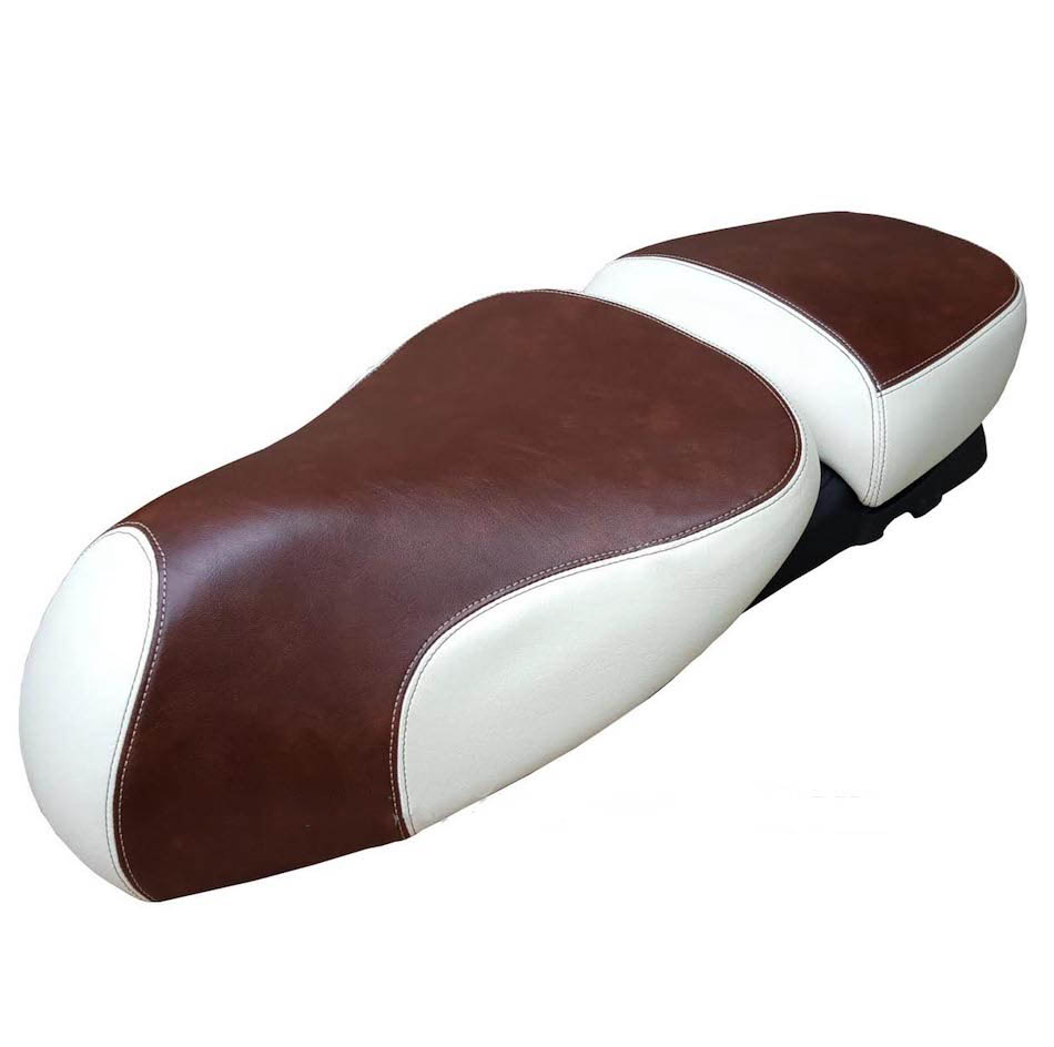 Vespa GTV Two Tone Saddle Seat Cover Whiskey and Cream