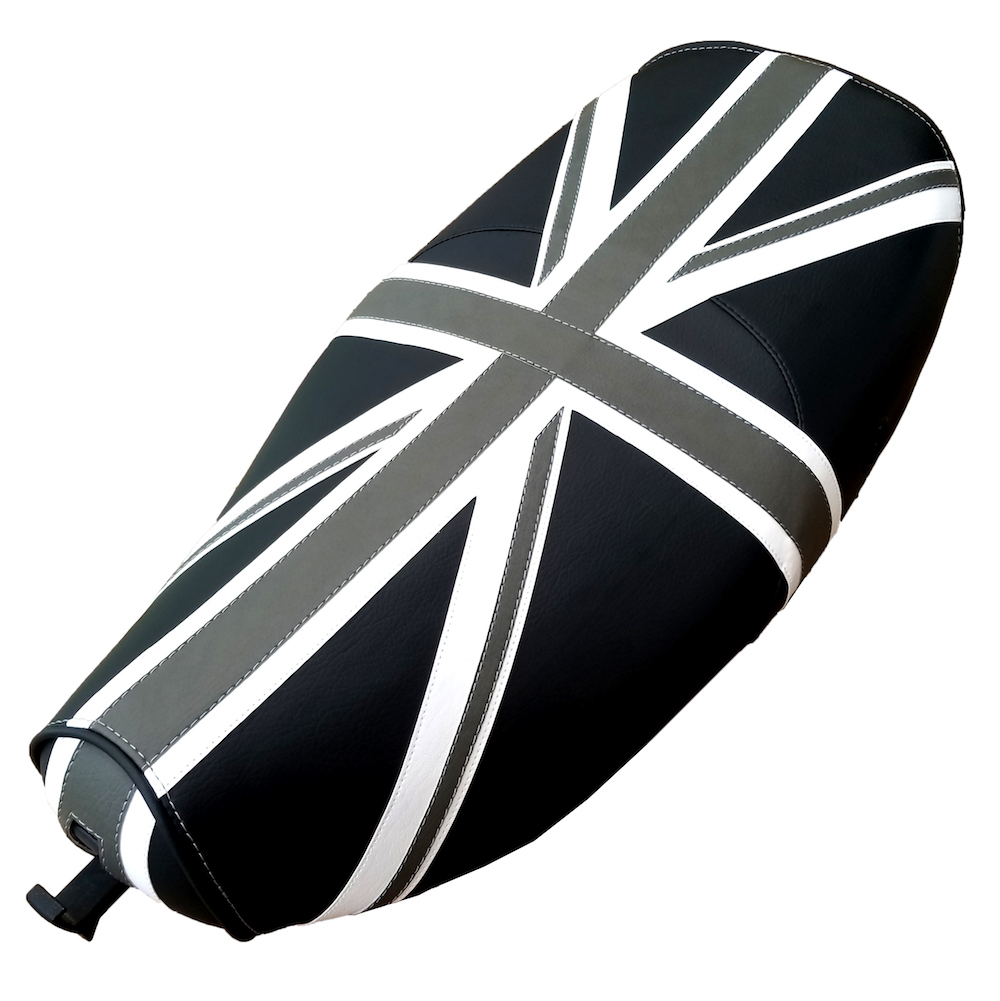 Black & Gray Vespa LX 50 150 Union Jack British Flag Seat Cover