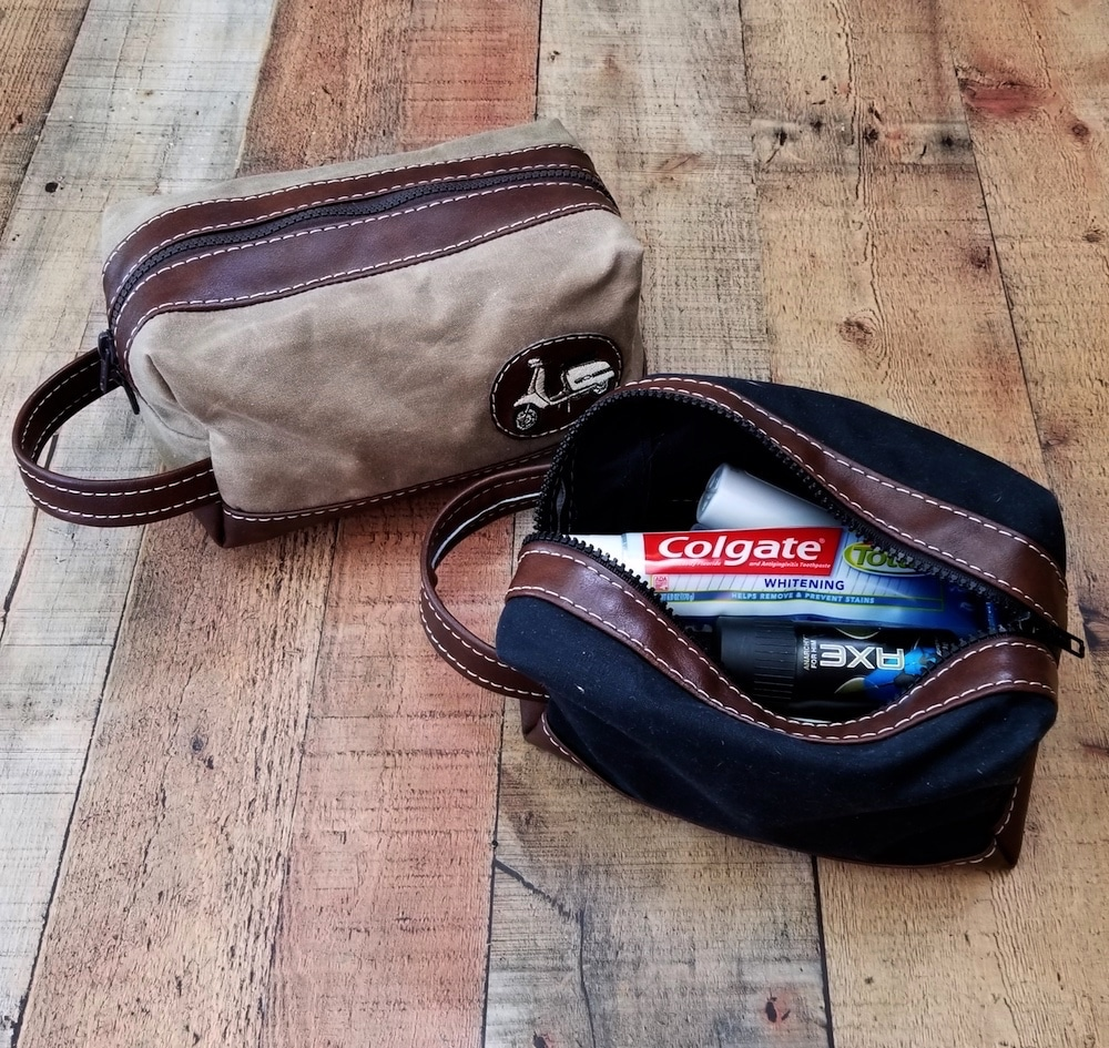 Waxed Canvas Black Scooter Dopp Toiletry Kit Scooter Gifts Vespa
