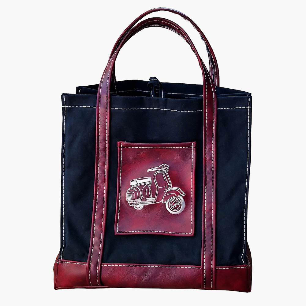 Scooter Gifts Handmade Waxed Canvas Market Tote Bag Oxblood